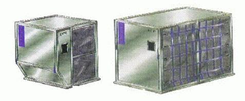 Luftftrachtcontainer LD2 (links) - LD11 (rechts)