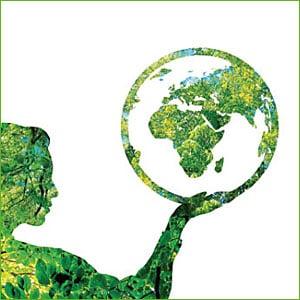 Illustration Mann hält Weltkugel in Hand
