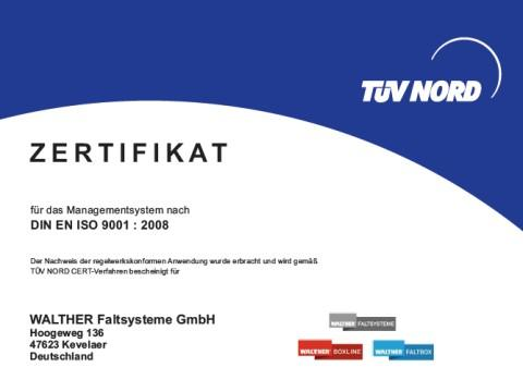 Vom TÜV erneut mit DIN EN ISO 9001:2008 zertifiziert