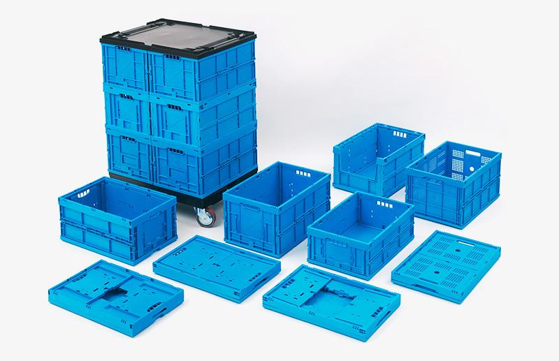 Verschiedene Klappboxen, blau